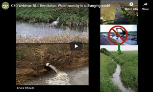 Screenshot from a video showing several drainages in cultivated fields.  Screenshot is from a webinar titled 'Blue Revolution: Water scarcity in a changing world'