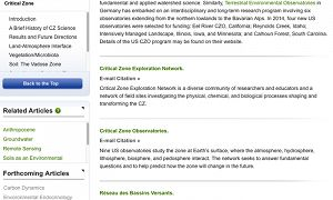 A screengrab of the Critical Zone entry in Oxford Bibliographies.
