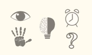 Five icons (e.g., eye, hand) that help illustrate key observations used for scientific inquiry of the Critical Zone such as 'I notice...' and 'I wonder...'