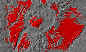 Bright red color on a map shows some of the volcanic activity of the Valles Caldera superimposed on grayscale, shaded topography.