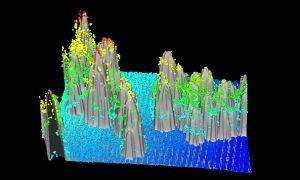 Colorful 3D data visualization comparing LiDAR point cloud data and a canopy model.  The data help map the distribution and severity of the Las Conchas forest fire.