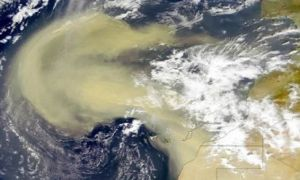 Satellite image showing a massive sandstorm blowing off the northwest African desert.  The storm is blanketing hundreds of thousands of square miles of the eastern Atlantic Ocean with a dense cloud of Saharan sand. NASA SeaWiFS image acquired February 26, 2000.